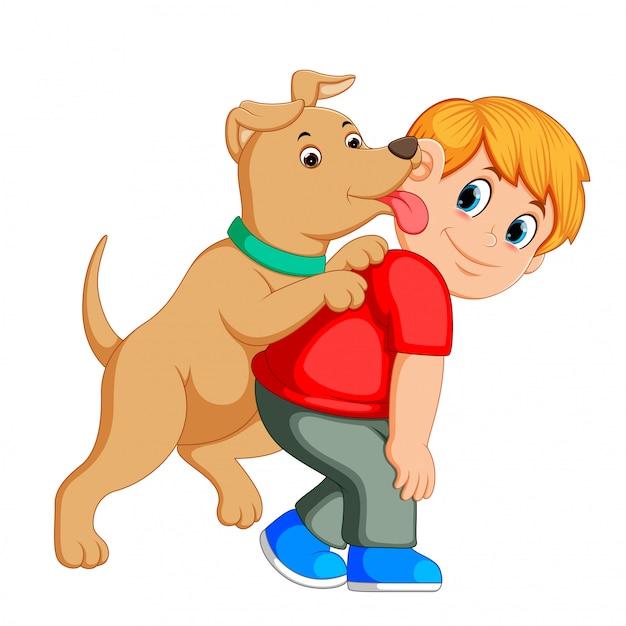 Junger mann und liebte seinen hund Premium Vektoren