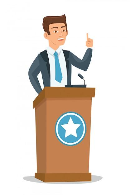 Junger politiker, der auf publikum spricht Premium Vektoren