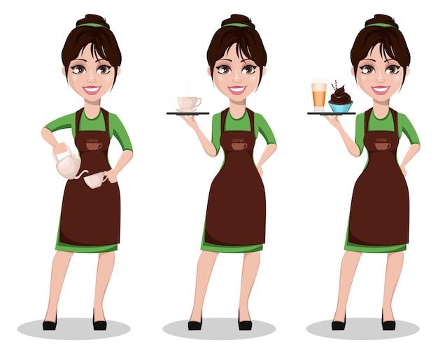 Junger schöner weiblicher barista Premium Vektoren