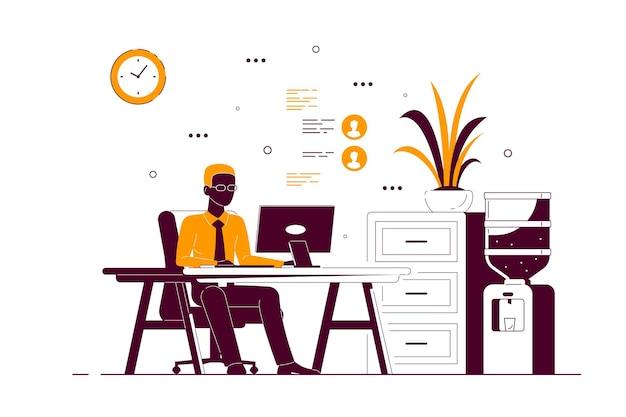 Junger schwarzer geschäftsmann, der am computer am schreibtisch im büro arbeitet. flache art strichzeichnungen illustration Premium Vektoren