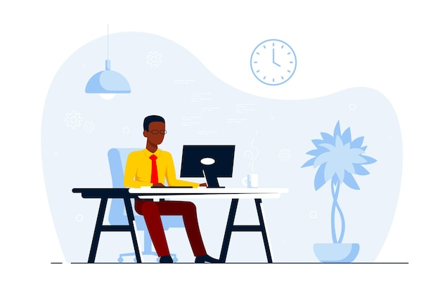 Junger schwarzer geschäftsmann, der am computer am schreibtisch im büro arbeitet. flache artillustration Premium Vektoren