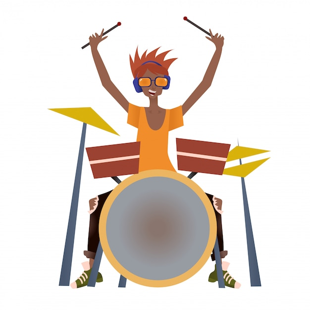 Junger schwarzer mann, der schlagzeug spielt. schlagzeuger, musiker. illustration, auf weißem hintergrund. Premium Vektoren