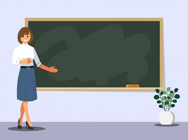 Junger weiblicher lehrer auf lektion an der tafel im klassenzimmer Premium Vektoren