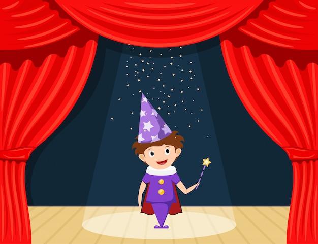 Junger zauberer auf der bühne. kinderleistung. kleiner schauspieler auf der bühne, der die rolle eines zauberers spielt. Premium Vektoren