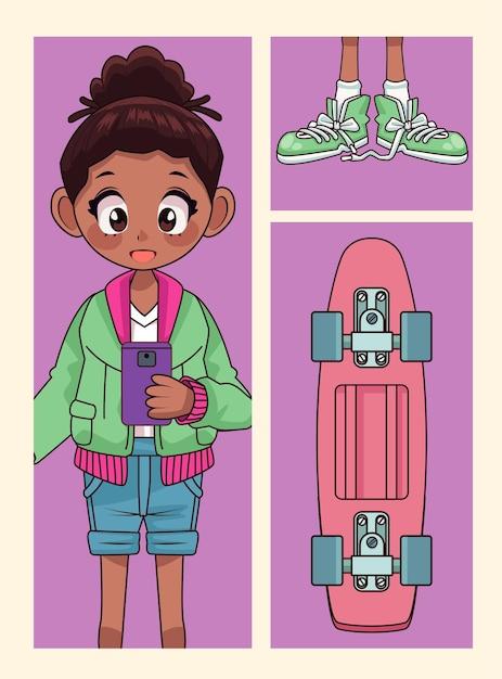 Junges afro-teenager-mädchen mit schuhen und skateboard-anime-charakterillustration Premium Vektoren