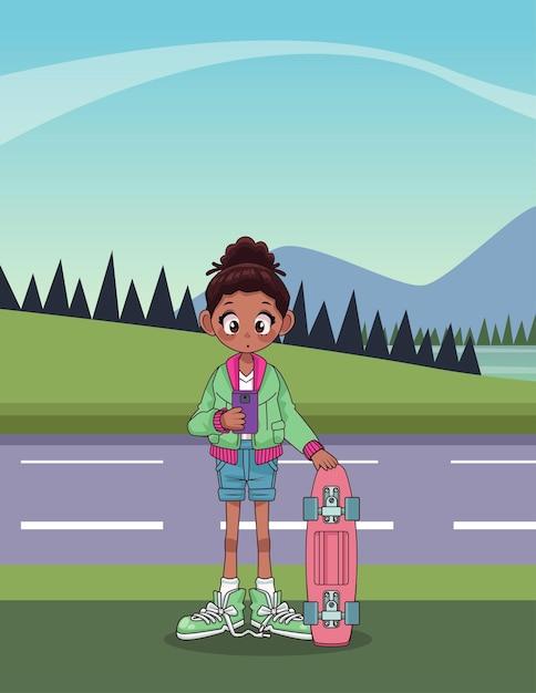 Junges afro-teenager-mädchen mit skateboard in der straßencharakterillustration Premium Vektoren