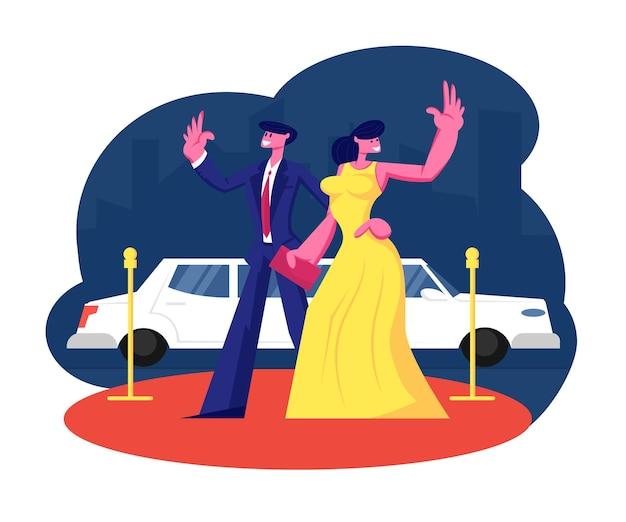 Junges berühmtes paar auf rotem teppichstand bei limousinenwinkenden händen. karikatur flache illustration Premium Vektoren