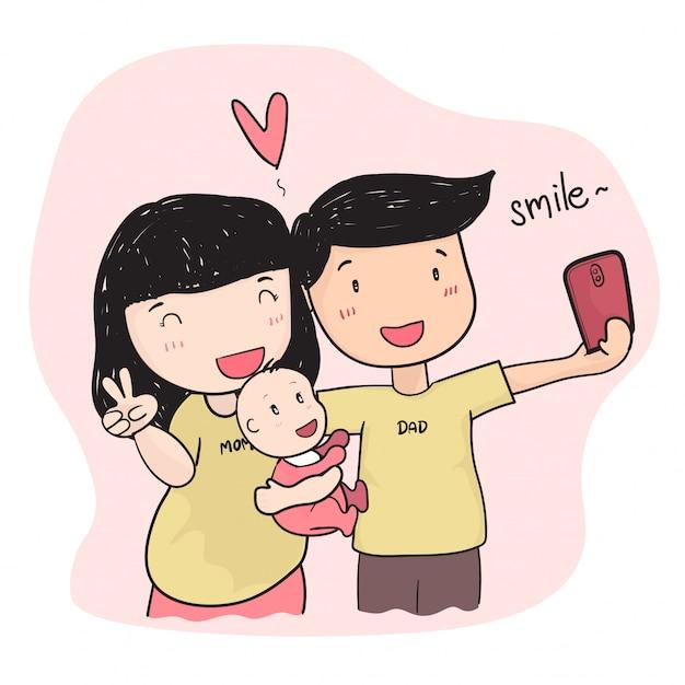 Junges elternteil der glücklichen familie, das selfie foto mit baby macht Premium Vektoren
