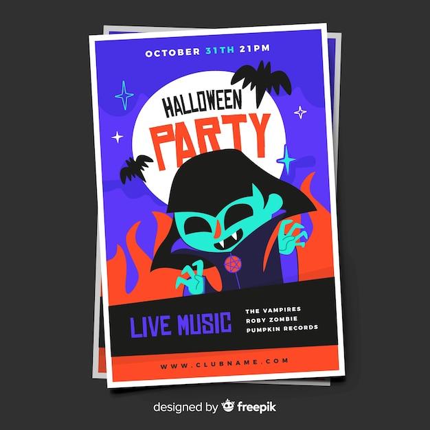Junges erwachsenes dracula-halloween-partyplakat Kostenlosen Vektoren