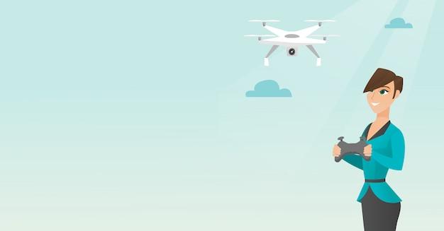 Junges kaukasisches frauenfliegenbrummen Premium Vektoren