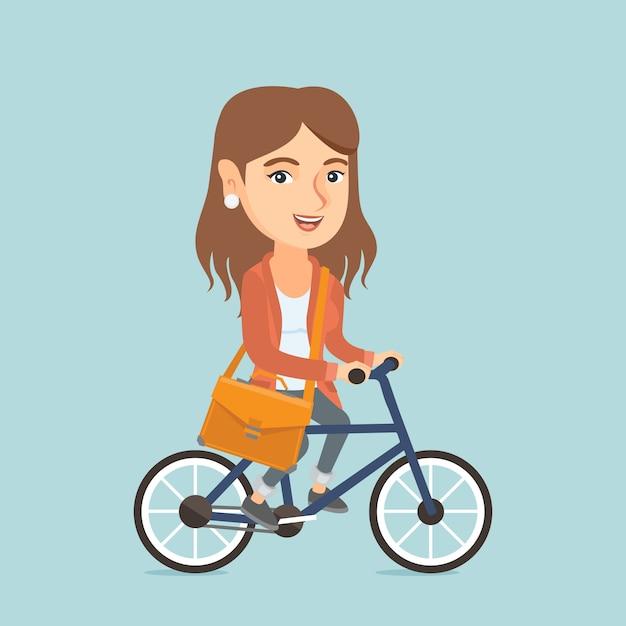 Junges kaukasisches geschäftsfrau-reitfahrrad. Premium Vektoren