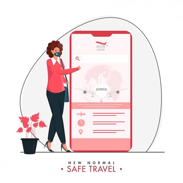 Junges mädchen, das online-ticketbuchung des fluges im smartphone mit schutzmaske auf weißem hintergrund für neues normales sicheres reisen hat. Premium Vektoren
