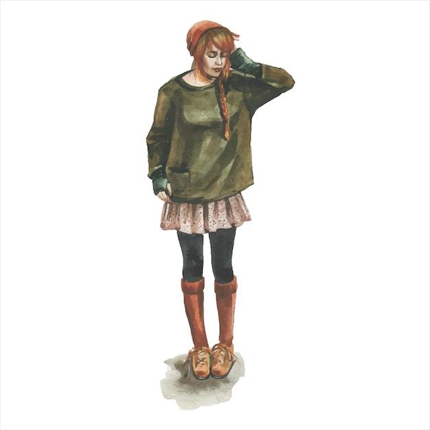 Junges mädchen im stilvollen trendigen outfit Premium Vektoren