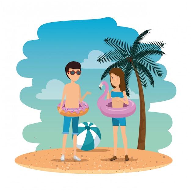 Junges paar am sommerstrand Premium Vektoren