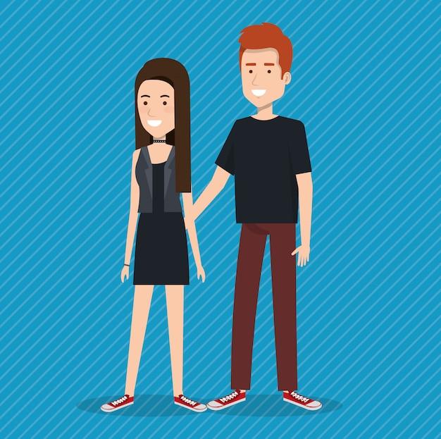 Junges paar avatare zeichen Kostenlosen Vektoren
