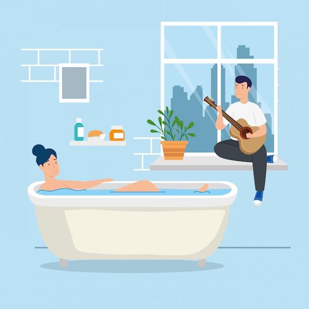 Junges paar bleibt zu hause in der badewanne Kostenlosen Vektoren