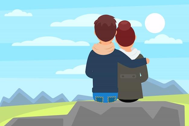Junges paar, das auf steinfelsen sitzt und schöne naturlandschaft mit bergen genießt. erholung im freien. rückansicht. eben Premium Vektoren