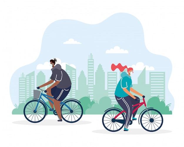Junges paar, das fahrrad trägt, das medizinische maskenillustration trägt Premium Vektoren