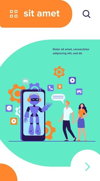 Junges paar, das mit roboterassistent auf smartphonebildschirm plaudert. chatbot hilft kunden bei ihren problemen Kostenlosen Vektoren