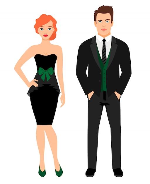 Junges paar in schwarzer mode-outfit. frau in wenigem schwarzem kleid und mann in der weste und in der jacke, vektorillustration Premium Vektoren
