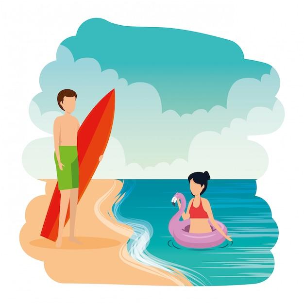 Junges paar mit float und surfbrett am strand Premium Vektoren