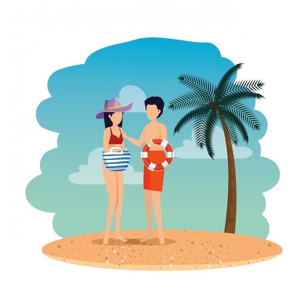 Junges paar mit schwimmer und handtasche am strand Premium Vektoren