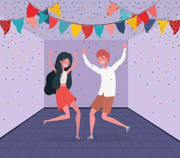 Junges paar tanzt im raum Kostenlosen Vektoren