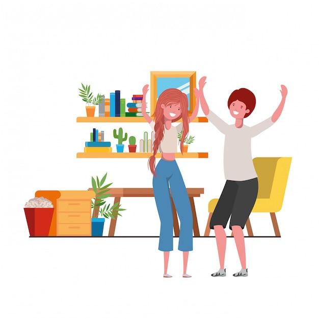 Junges paartanzen im wohnzimmercharakter Premium Vektoren