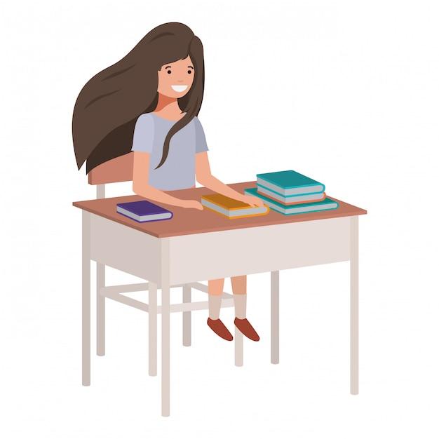 Junges studentenmädchen, das in der schulbank sitzt Premium Vektoren