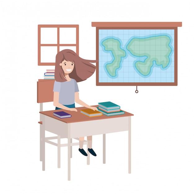 Junges studentenmädchen im geographieklassenzimmer Premium Vektoren