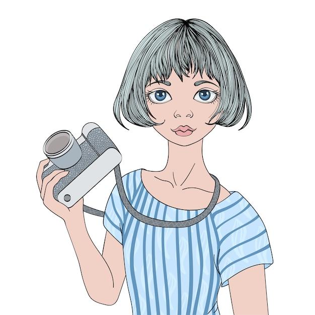 Junges süßes mädchen mit fotokamera. porträtillustration, isoliert. Premium Vektoren