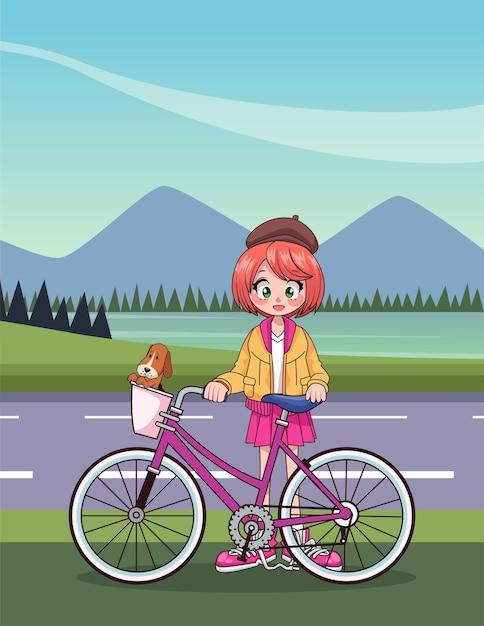 Junges teenager-mädchen im fahrrad-anime-charakter in der straßenillustration Premium Vektoren