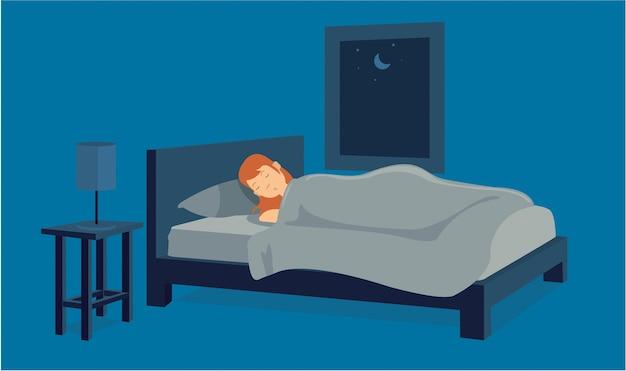 Junges weibliches müdes schlafen auf ihrer wohnung Premium Vektoren