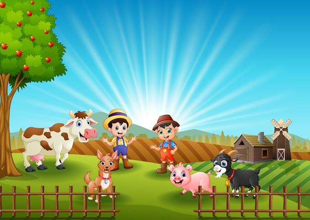 junglandwirte mit tieren auf dem bauernhof  premiumvektor