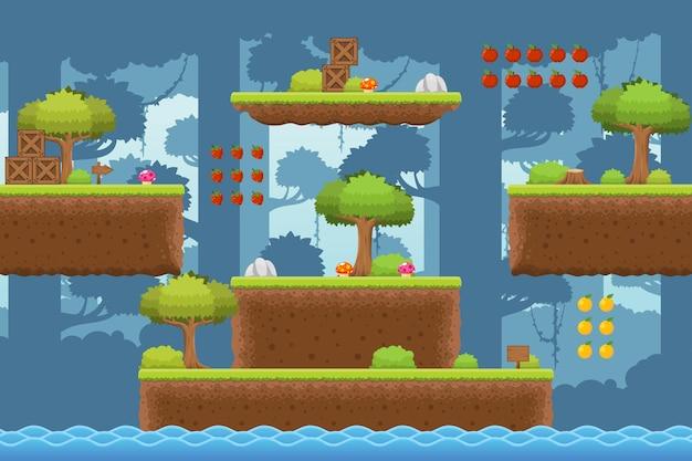 Jungle platformer game tileset Premium Vektoren