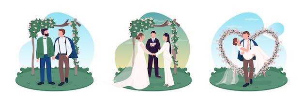 Jungvermähltenpaare 2d-webbanner Premium Vektoren