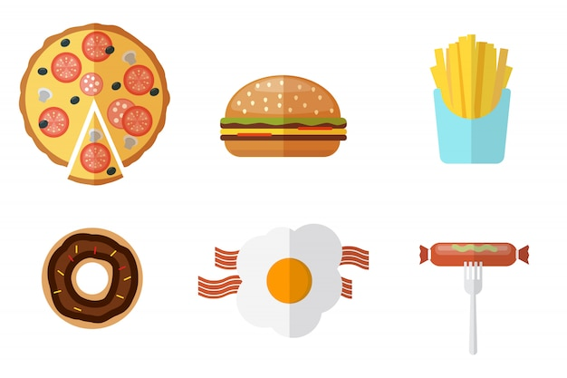 Junk-food-symbole festgelegt. junk-food-logo festgelegt Premium Vektoren