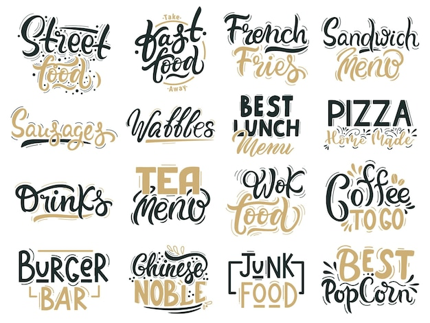 Junk-food-zitate. fast food, junk und street food schriftzug, getränke und handgezeichnete abzeichen Premium Vektoren
