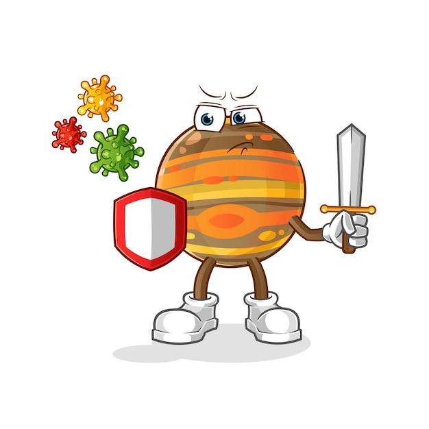 Jupiter gegen viren cartoon Premium Vektoren