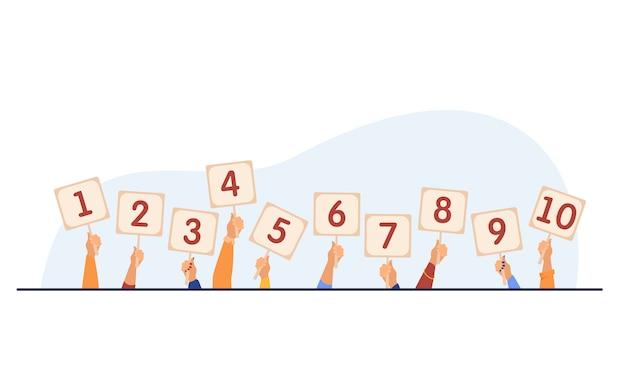 Jury bewertet und zeigt scorecards Kostenlosen Vektoren