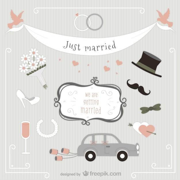 Just married pack Kostenlosen Vektoren