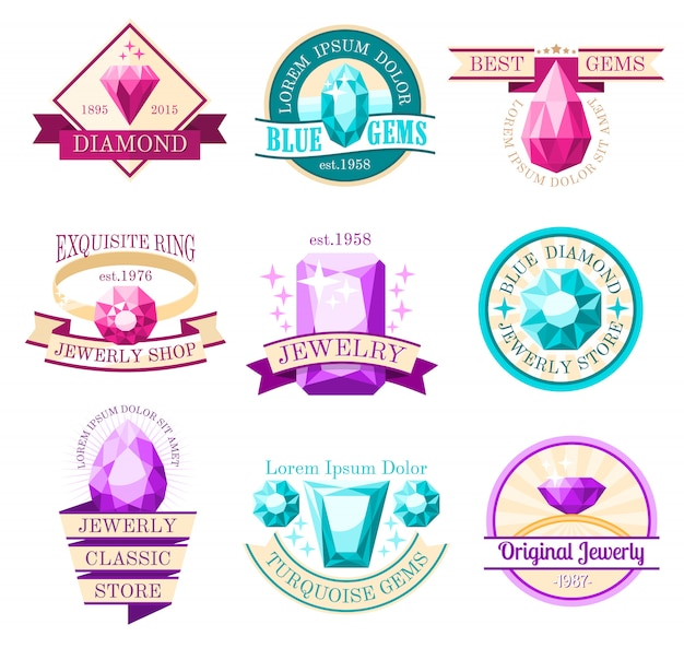 Juwel embleme set Kostenlosen Vektoren