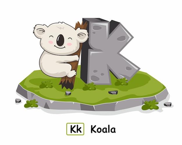 K für koala tiere alphabet rock stone Premium Vektoren