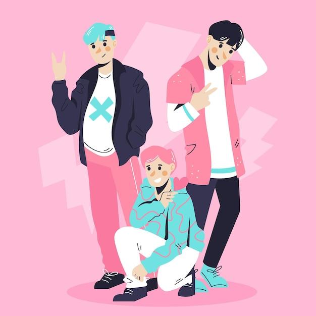 K-pop boy group konzept Kostenlosen Vektoren