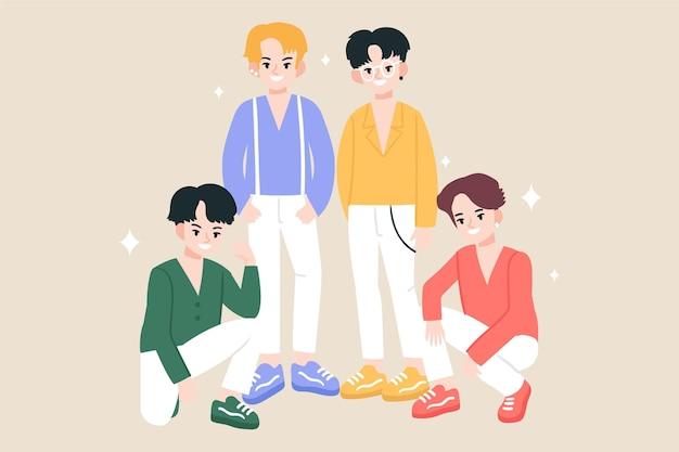 K-pop boy group Kostenlosen Vektoren