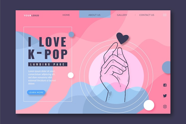 K-pop musik landing page Kostenlosen Vektoren
