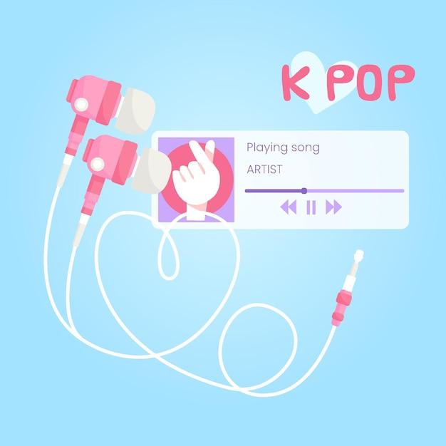 K-pop musikkonzept mit musik-app und kopfhörern Premium Vektoren