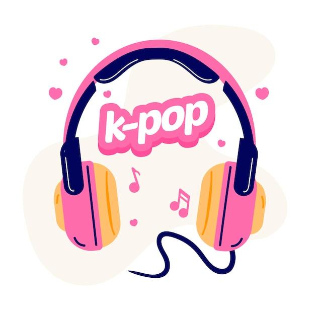 K-pop-musikkonzept mit rosa kopfhörern illustriert Premium Vektoren