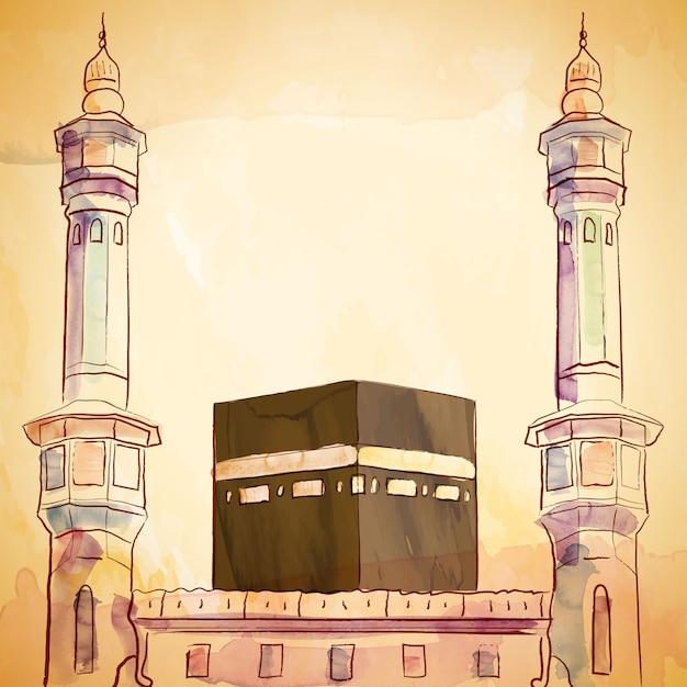Kaaba- und harammoscheenillustration mit vektoraquarellbürste und tintenskizze Premium Vektoren