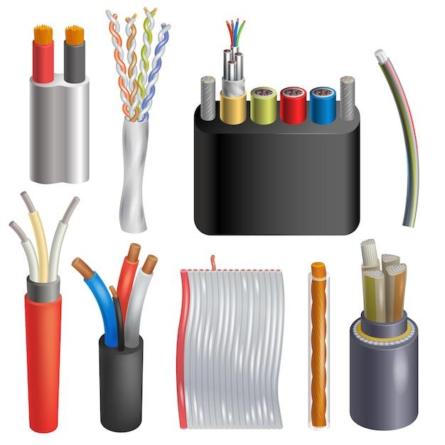 Kabel kabel kabelverbindungstechnologie netzwerk illustration realistische 3d-satz von elektrischen kabeln internet connect tech isoliert Premium Vektoren